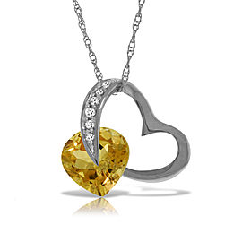 14K Solid White Gold Heart Necklace withNatural Diamond & Citrine