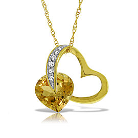 14K Solid Gold Heart Necklace withNatural Diamond & Citrine