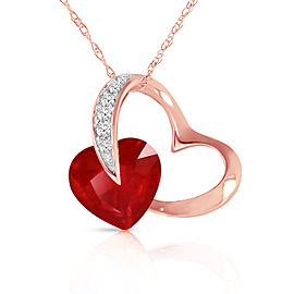14K Solid Rose Gold Heart Necklace withNatural Diamond & Ruby