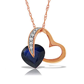 14K Solid Rose Gold Heart Necklace with Natural Diamond & Sapphire