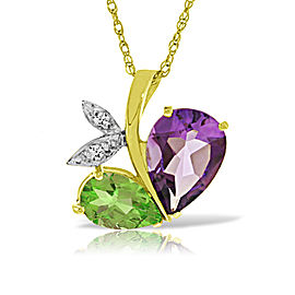 14K Solid Gold Modern Heart Necklace Combination Of Amethyst, Peridot & Diamond