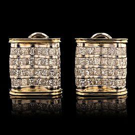 18K Yellow & White Gold Diamond Earrings