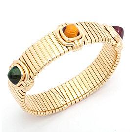 Bulgari Tubogas 18K Yellow Gold Rubelite Tourmaline Citrine Bracelet