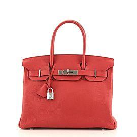 Hermes Birkin Handbag Rouge Casaque Clemence with Palladium Hardware 30