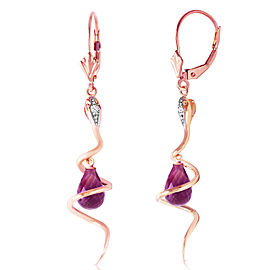 14K Solid Rose Gold Snake Earrings with Dangling Briolette Amethysts & Diamonds