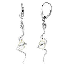 14K Solid White Gold Snake Earrings with Dangling Briolette White Topaz & Diamonds