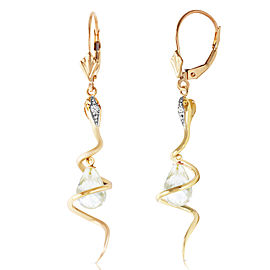 14K Solid Gold Snake Earrings with Dangling Briolette White Topaz & Diamonds