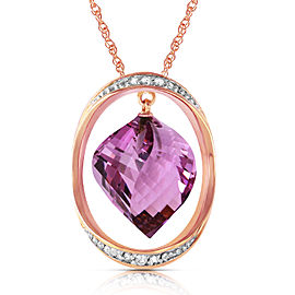 14K Solid Rose Gold Necklace with Natural Twisted Briolette Amethyst & Diamonds