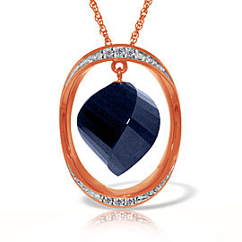 14K Solid Rose Gold Necklace with Twisted Briolette Dyed Sapphire & Diamonds
