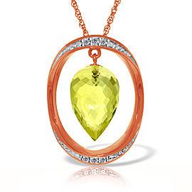 14K Solid Rose Gold Necklace with Diamonds & Briolette Pointy Drop Lemon Quartz