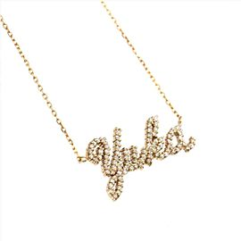 Samantha Tiara 18k Pink gold Diamond Name Yuka Necklace