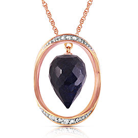 14K Solid Rose Gold Necklace with Diamonds & Briolette Pointy Drop Dyed Sapphire