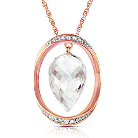 14K Solid Rose Gold Necklace with Diamonds & Briolette Pointy Drop White Topaz