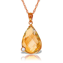 14K Solid Rose Gold Necklace withBriolette Checkerboard Cut Citrine & Diamond
