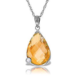 14K Solid White Gold Necklace withBriolette Checkerboard Cut Citrine & Diamond