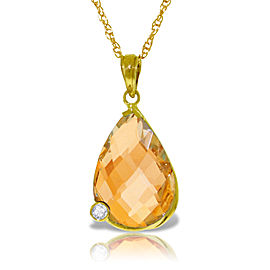 14K Solid Gold Necklace withBriolette Checkerboard Cut Citrine & Diamond