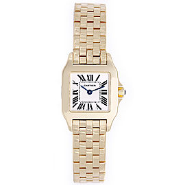 Cartier Santos W25063X9 18K Yellow Gold White Dial Quartz 20mm Womens Watch