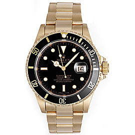 Rolex Submariner 16618 18K Yellow Gold Black Dial 40mm Mens Watch