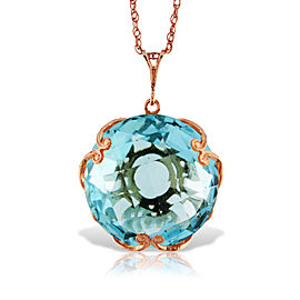 14K Solid Rose Gold Necklace with Checkerboard Cut Round Blue Topaz