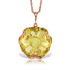14K Solid Rose Gold Necklace with Checkerboard Cut Round Lemon Quartz