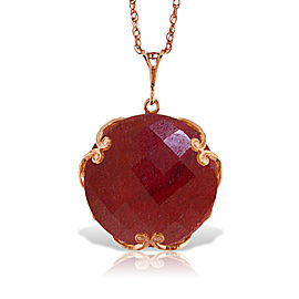 14K Solid Rose Gold Necklace with Checkerboard Cut Round Dyed Ruby