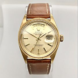 ROLEX Oyster Perpetual DAY-DATE Spanish Date 18K Yellow Gold Watch