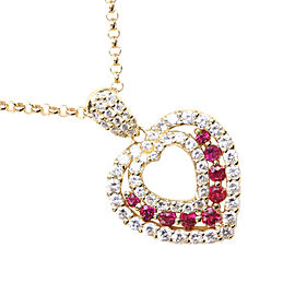 heart Necklace K18 yellow gold/diamond/Ruby Women