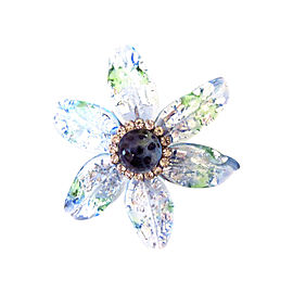 Chanel Silver Tone Hardware with Blue Gripoix and Austrian Crystal Flower Pin Brooch