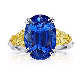 Platinum 18K Yellow Gold 9.08ct. Sapphire 1.37ctw. Diamond Ring Size 7