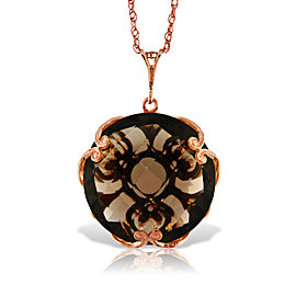 14K Solid Rose Gold Necklace with Checkerboard Cut Round Smoky Quartz