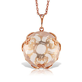 14K Solid Rose Gold Necklace with Checkerboard Cut Round Rose Quartz