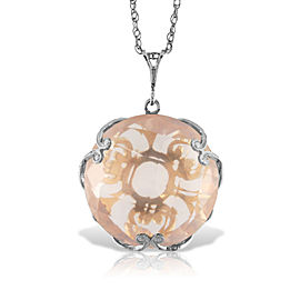 14K Solid White Gold Necklace with Checkerboard Cut Round Rose Quartz