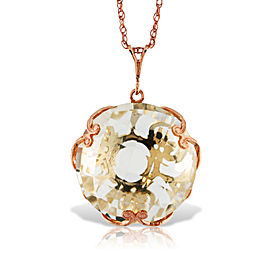 14K Solid Rose Gold Necklace with Checkerboard Cut Round White Topaz