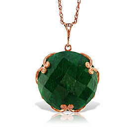 14K Solid Rose Gold Necklace with Checkerboard Cut Round Dyed Green Sapphire