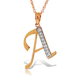 14K Solid Rose Gold Necklace with Natural Diamonds Initial 'a' Pendant