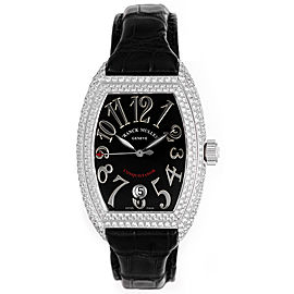 Franck Muller Conquistador 8002 SC D 18K White Gold & Leather wDiamond Automatic 34mm Womens Watch