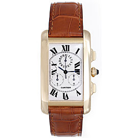 Cartier Tank Americaine W2601156 18K Yellow Gold & Leather Quartz 45mm Mens Watch
