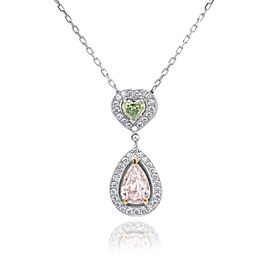 Leibish 18K White and Rose Gold Light Pink Pear Diamond, Yellow Green Heart Diamond Halo Drop Neckace