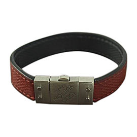 Louis Vuitton Silver Tone Hardware And Leather Reversible Bracelet