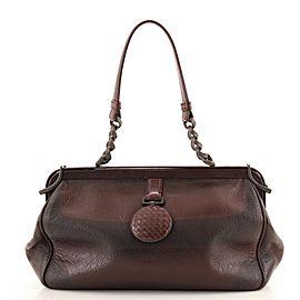 Bottega Veneta Frame Shoulder Bag Printed Glazed Leather Medium