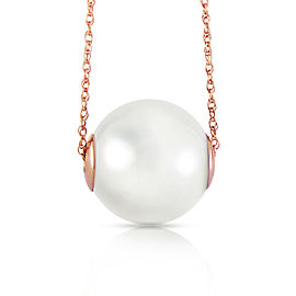 14K Solid Rose Gold Necklace with 16.0 mm White Shell Cultured Pearl