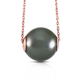14K Solid Rose Gold Necklace with 16.0 mm Black Shell Cultured Pearl