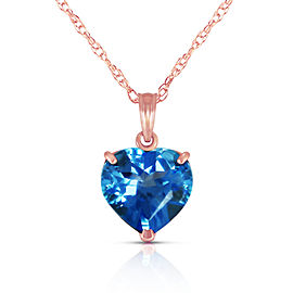 14K Solid Rose Gold Necklace with Natural 10mm Heart Blue Topaz