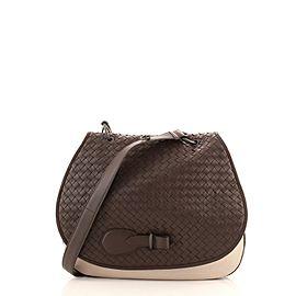 Bottega Veneta Safari Round Flap Bag Intrecciato Nappa and Canvas Medium
