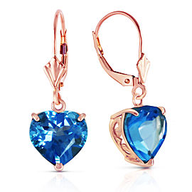 14K Solid Rose Gold Leverback Earrings Natural 10mm Heart Blue Topaz