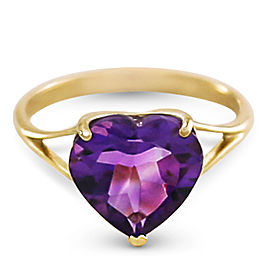 14K Solid Gold Ring with Natural 10.0 mm Heart Amethyst