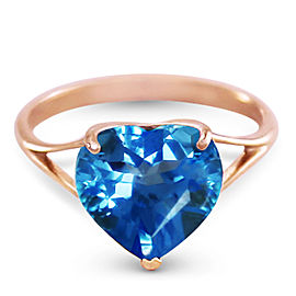 14K Solid Rose Gold Ring with Natural 10.0 mm Heart Blue Topaz