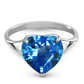 14K Solid White Gold Ring with Natural 10.0 mm Heart Blue Topaz