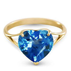 14K Solid Gold Ring with Natural 10.0 mm Heart Blue Topaz