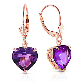 14K Solid Rose Gold Leverback Earrings Natural 10mm Heart Amethysts